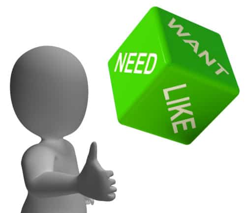 Stock image of need, want and like on green dice